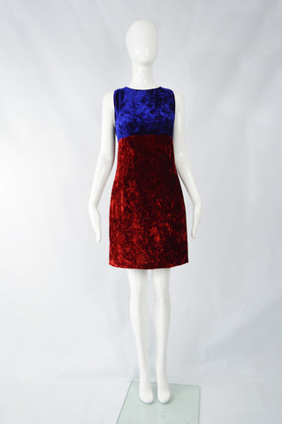 Red & Blue Velvet Dress, 1990s
