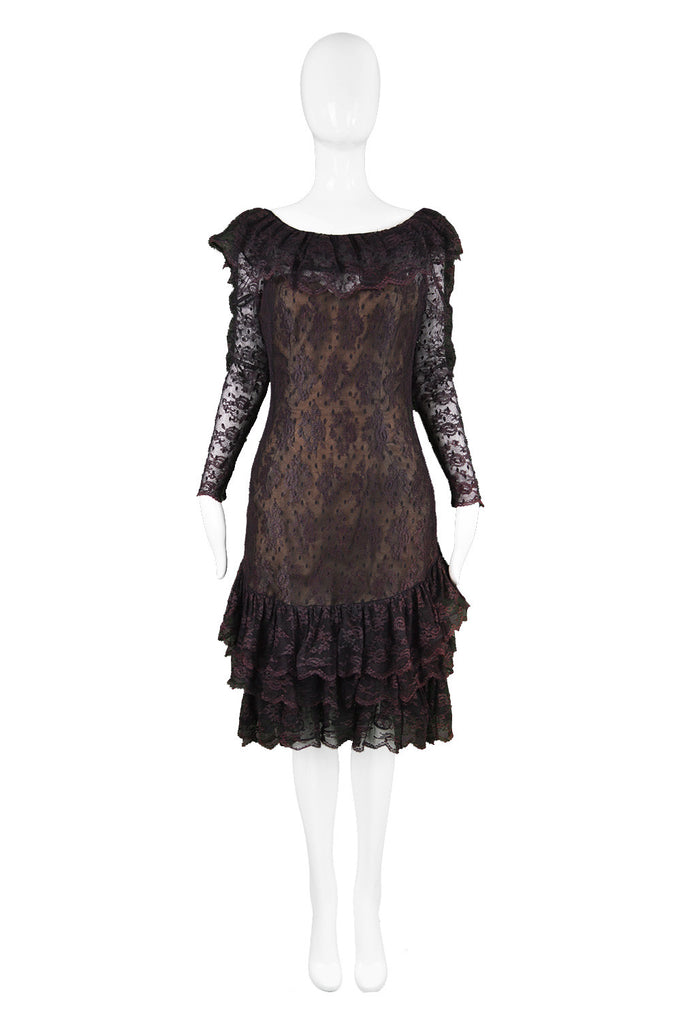 Purple and Black Lace dress by Victor Costa at Harvey Nichols, 1980s