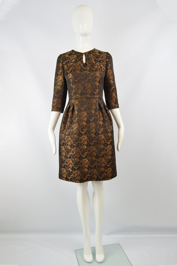 True Italian Couture Bronze & Black Jacquard Dress, 1980s