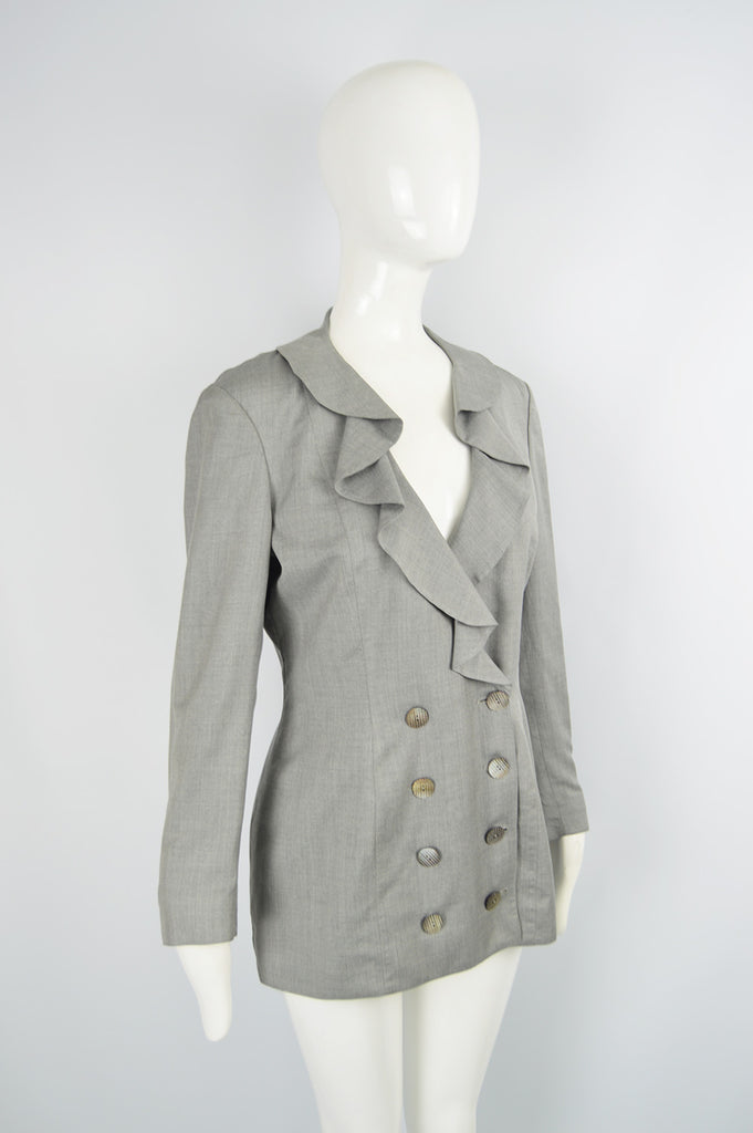 Vintage Grey Ruffled Collar Blazer Jacket, 1980s
