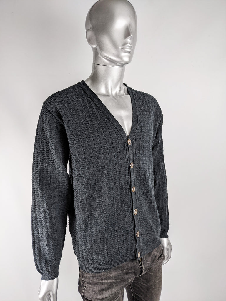 Mens Vintage Textured Knit Slouchy Cardigan, 1980s
