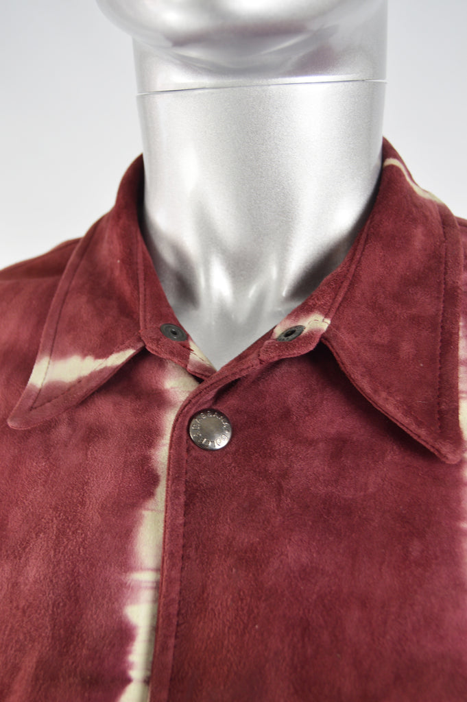 Mens Vintage Dyed Red Suede Shirt, 1990s