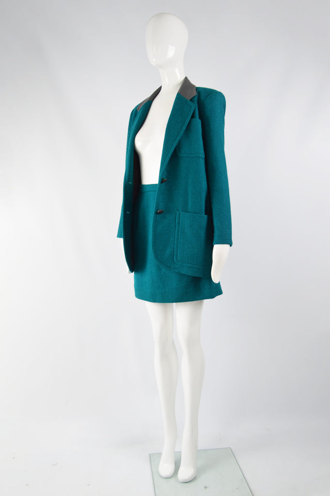Vintage Womens Teal Wool & Leather Skirt Suit, 1980s