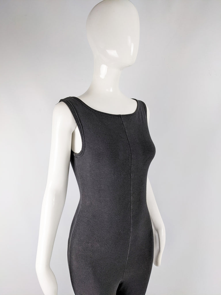 Womens Vintage Bodycon Jersey Sleeveless Catsuit, 1980s