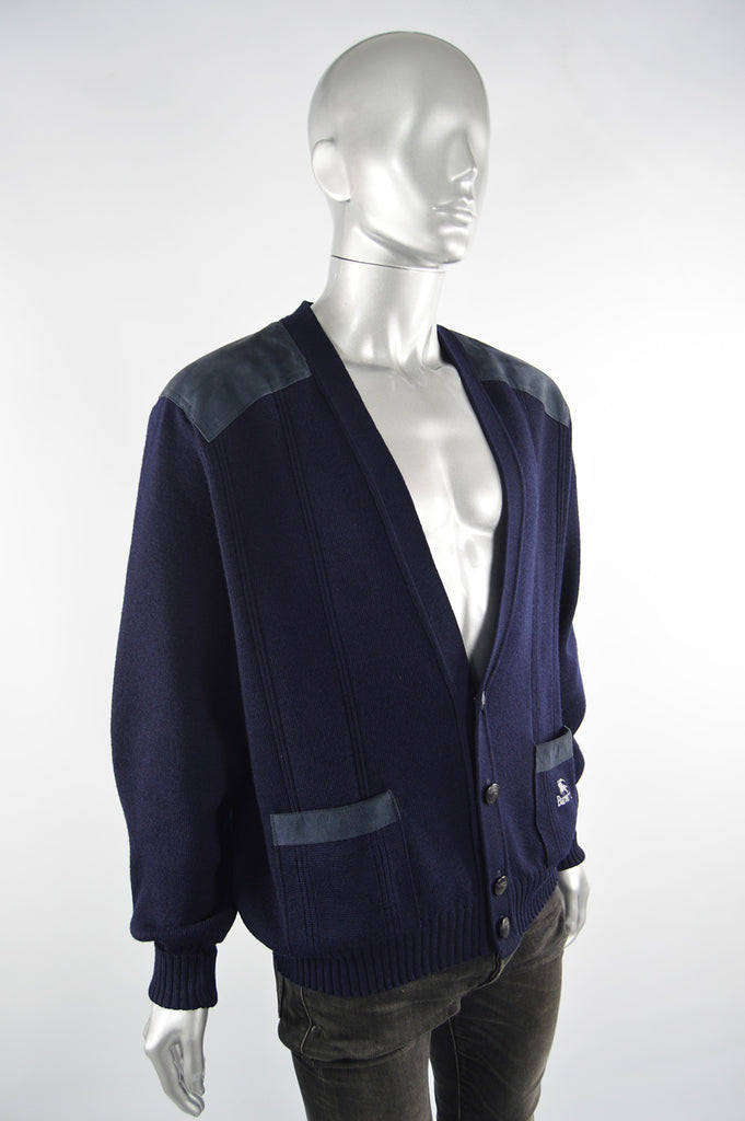 Mens Vintage Blue Suede Elbow Wool Cardigan, 1980s