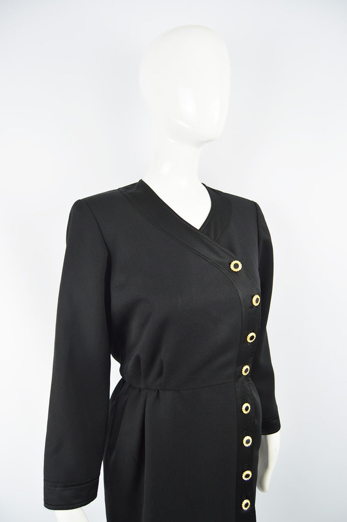 Vintage Women's Black Wool Blouson Dress, 1980s