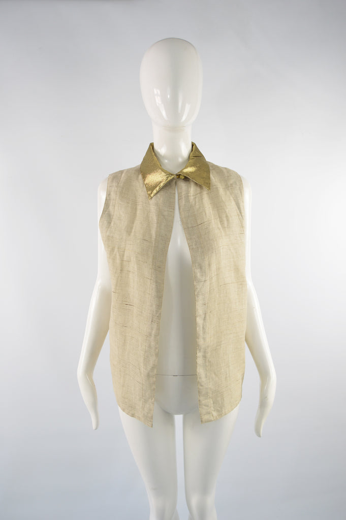 Vintage Gold Collar Backless Linen Blouse, 1990s