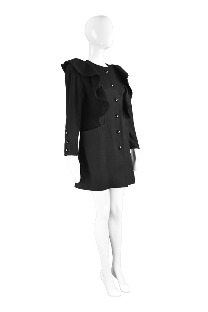 Black Wool Coat with Ruffles, 1980s