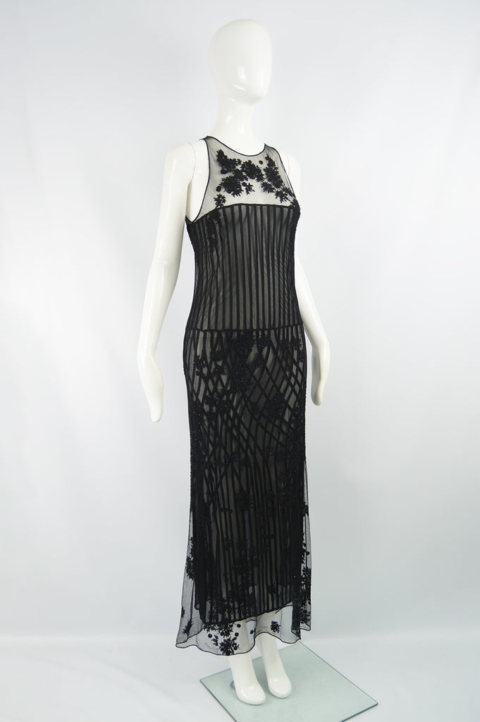 Vintage Embroidered & Beaded Sheer Silk Dress, A/W 1997