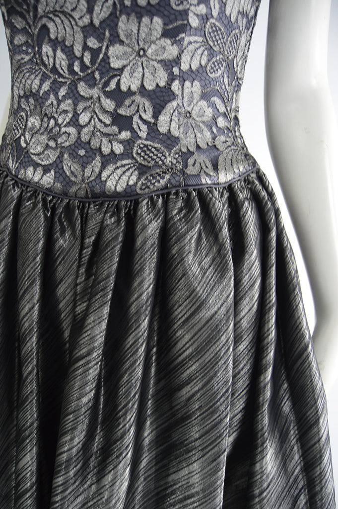 Vintage Silver Lace & Lamé Full Skirt Evening Gown