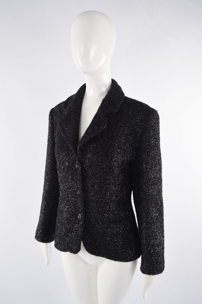 Black Fuzzy Vintage Lurex & Wool Jacket, 1980s