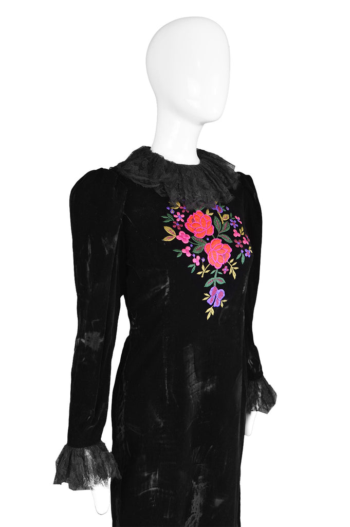 Vintage Embroidered Black Velvet & Lace Dress, 1980s