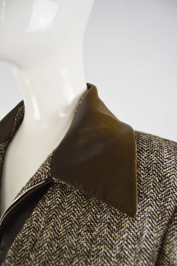 Womens Brown Leather & Silk Tweed Jacket, 1990s