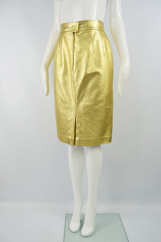 Women's Vintage Gold Leather Skirt, Fall 1991