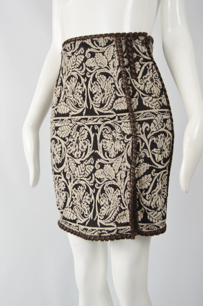 Vintage Womens Wool Tapestry & Leather Pencil Skirt, 1980s