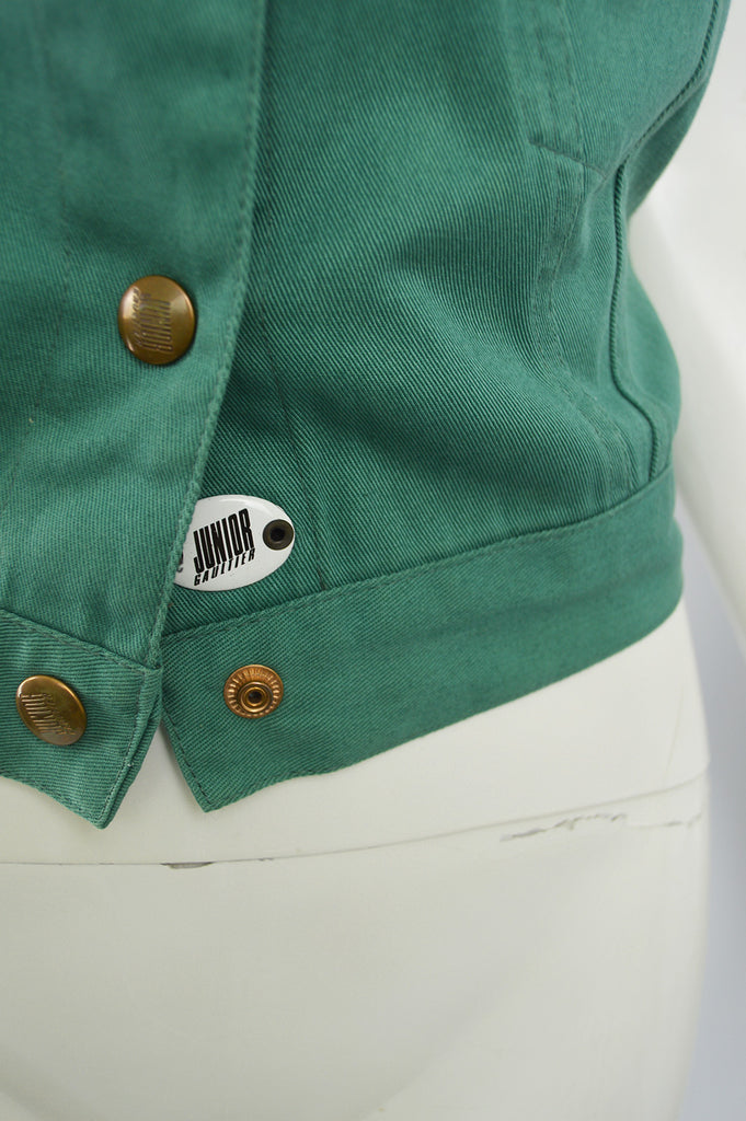 Vintage Green Denim Bustier, 1980s