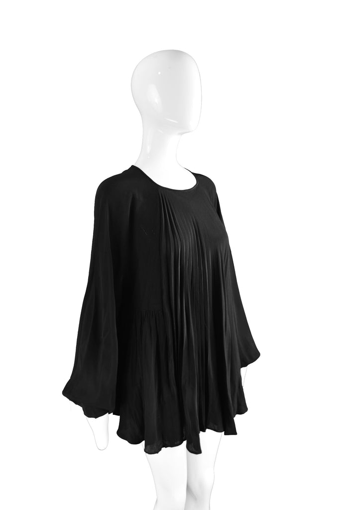 Black Crepe Flowing Blouse, 1970s