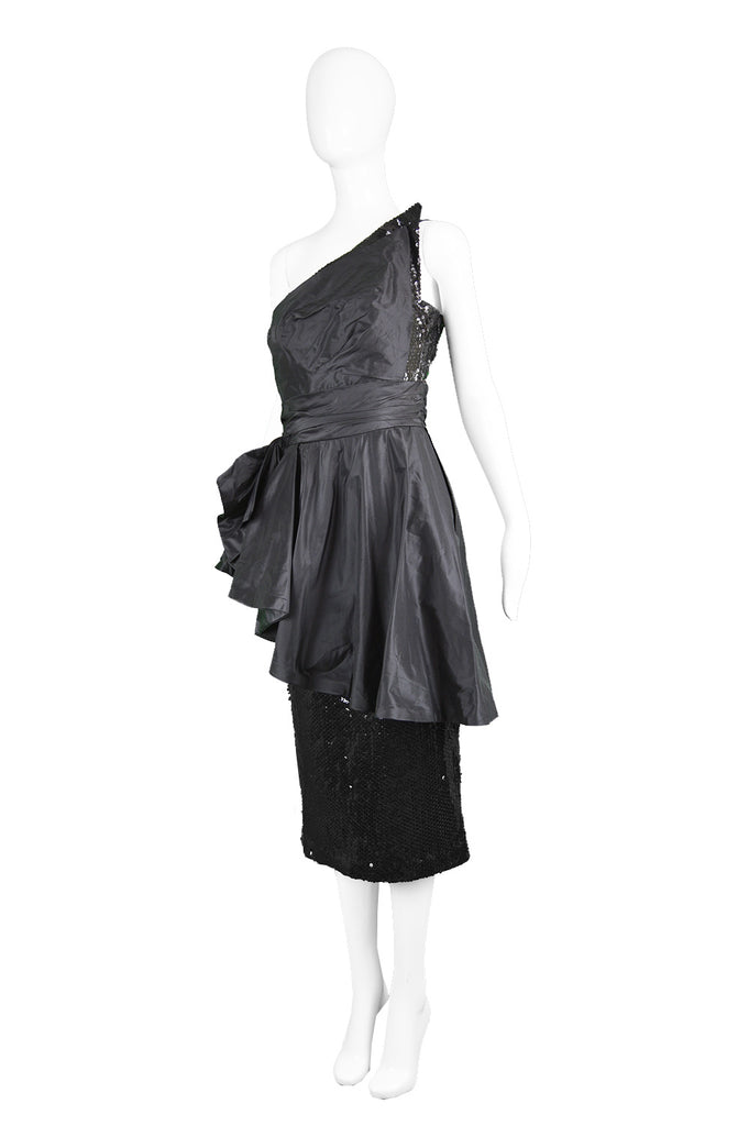 Vintage Sequinned Taffeta Asymmetrical Evening Gown, 1980s