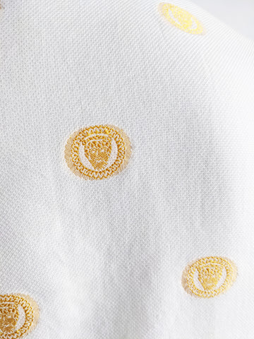 Mens Vintage White & Yellow Embroidered Shirt, 1990s