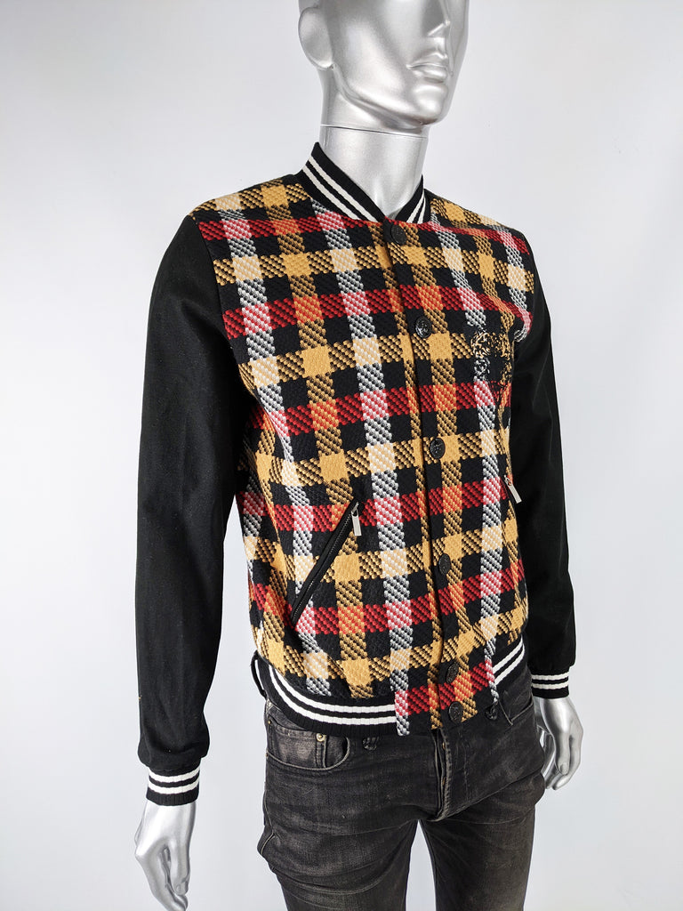 Mens Vintage Checked Embroidered Bomber Jacket, 2000s