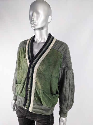 Mens Vintage Cable Knit & Suede Varsity Jacket, 1980s