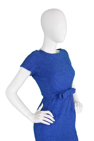 Blue Bouclé Wool Mini Dress, 1960s