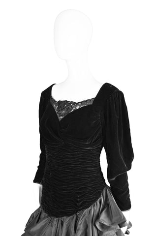 Vintage Draped Black Velvet & Taffeta Dress, 1980s