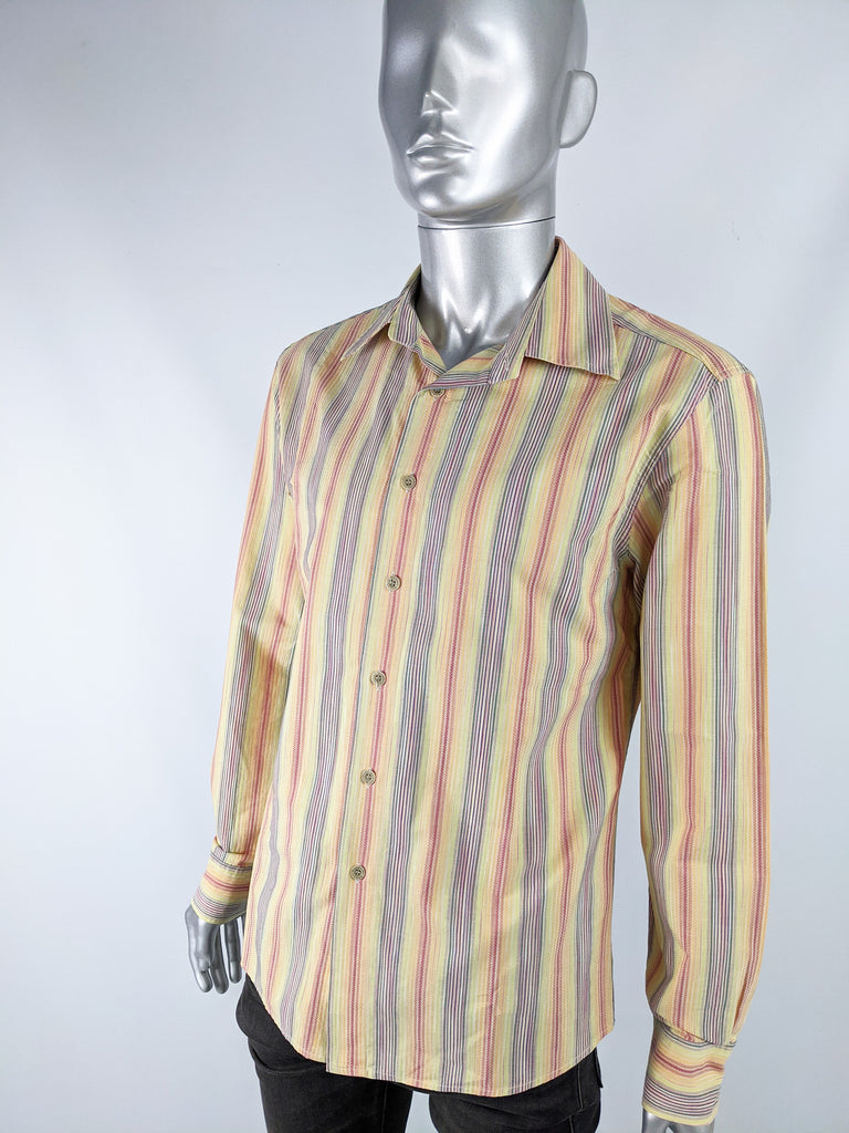 Mens Rainbow Textured Cotton Long Sleeve Shirt, 1990s