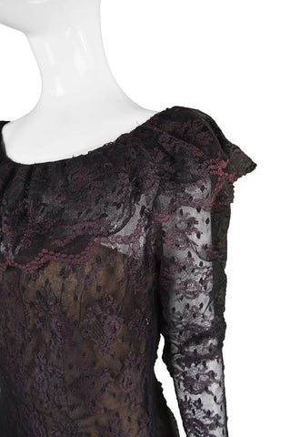 Purple & Black Lace Dress, 1980s