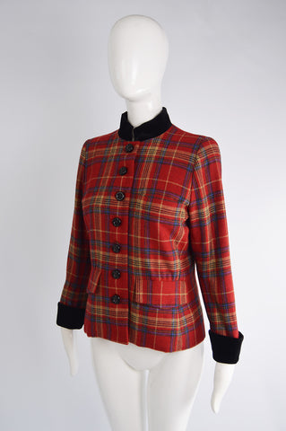 Vintage Red Checked Wool Jacket, 1980s