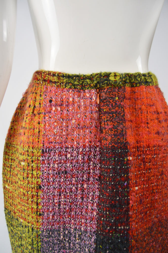 Vintage Wool & Mohair Checked Boucle Skirt, 1980s