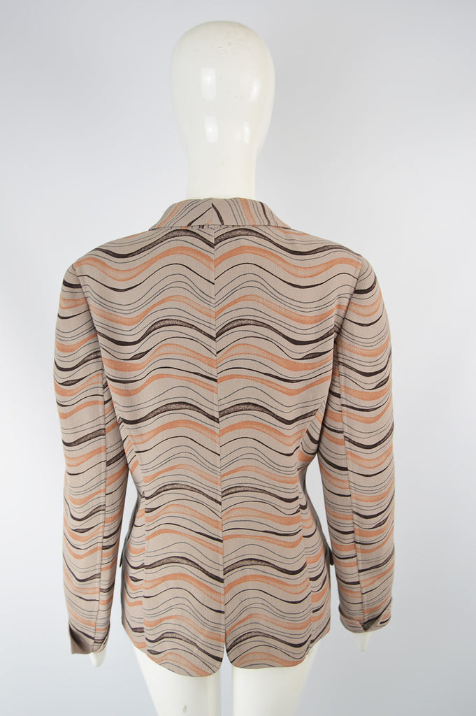 Womens Vintage Taupe & Orange Crepe Sculptural Blazer, 1980s