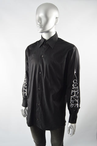 Mens Vintage Black Embroidered Long Sleeve Shirt, 1990s