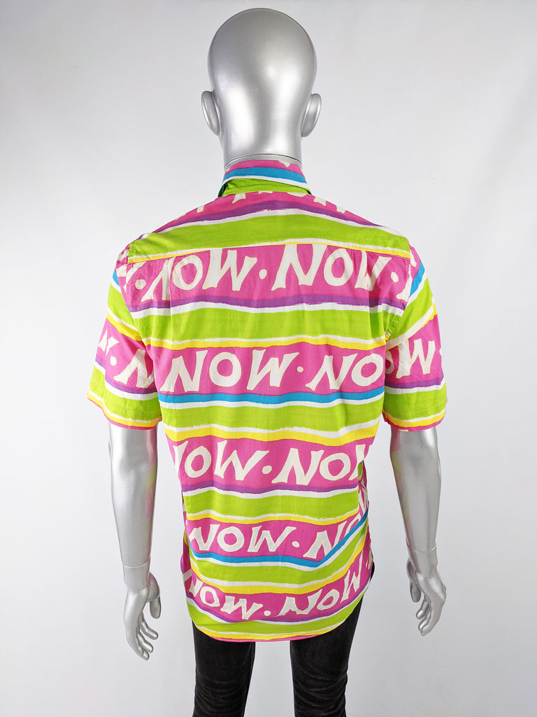 Mens Vintage 'Now' Patterned Short Sleeve Shirt, 1980s