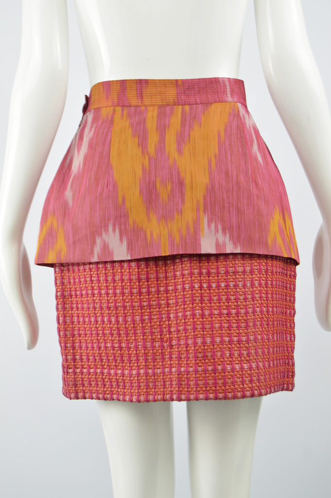 Silk & Woven Leather Vintage Pencil Skirt, 1980s