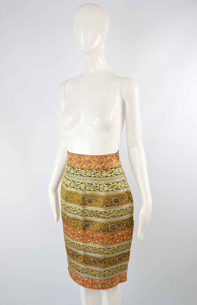 Women's Vintage Red & Gold Brocade Skirt, A/W 1989