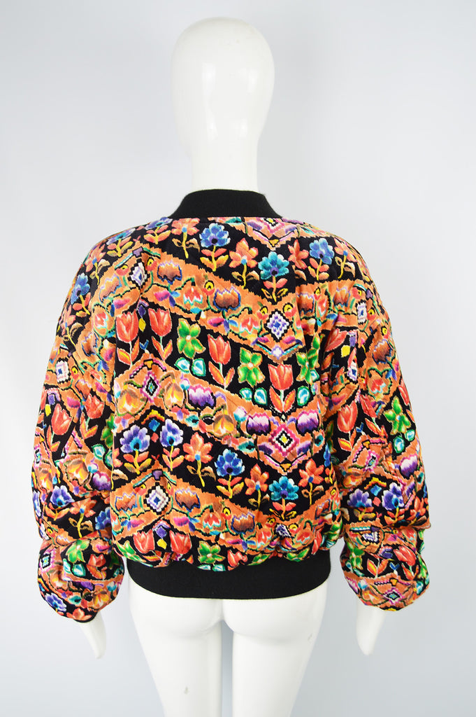 Women's Vintage Patterned Velvet Bomber Jacket, 1980s