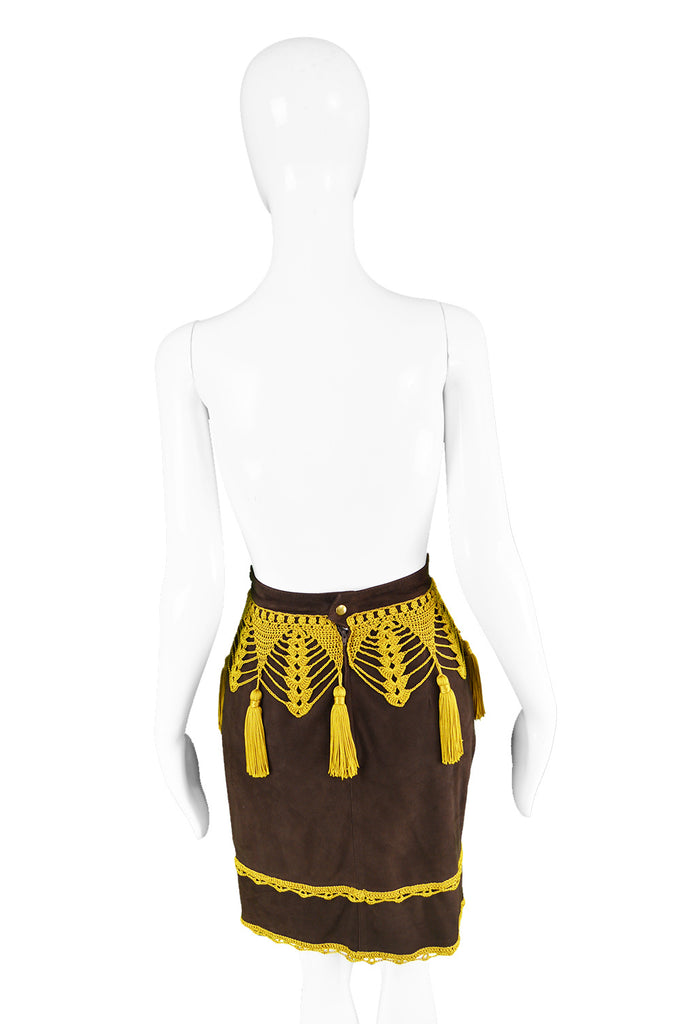 Brown Suede & Macramé Tassel Skirt, 1980s