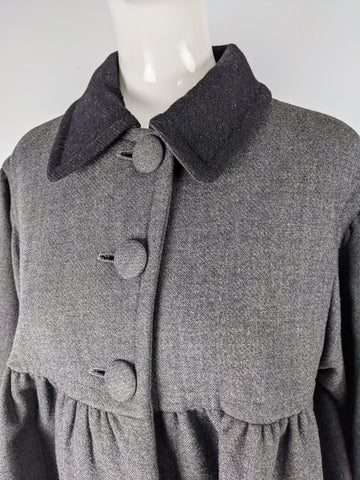 Vintage Grey Wool Oversized Swing Coat, 1990s