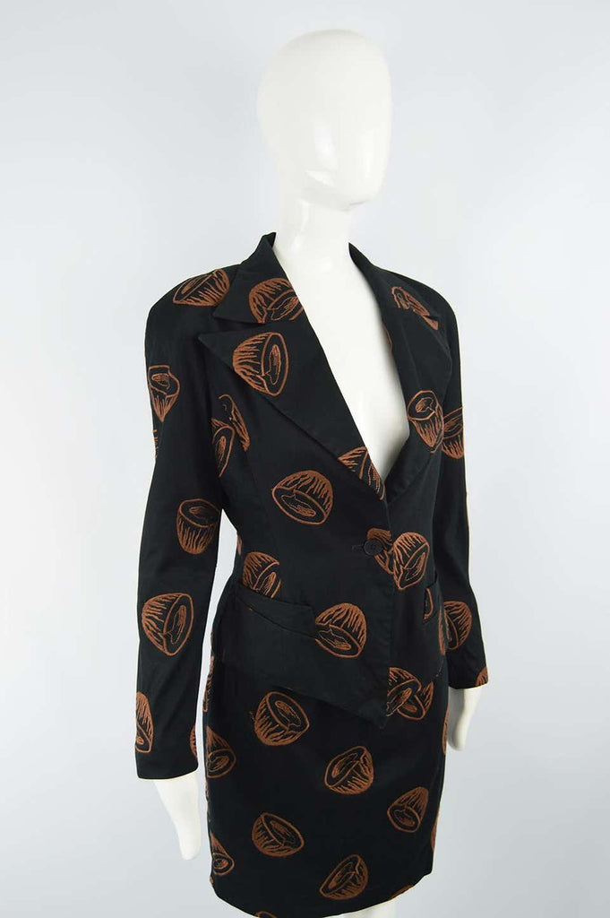 Womens Vintage Embroidered Statement Shoulder Suit, 1980s