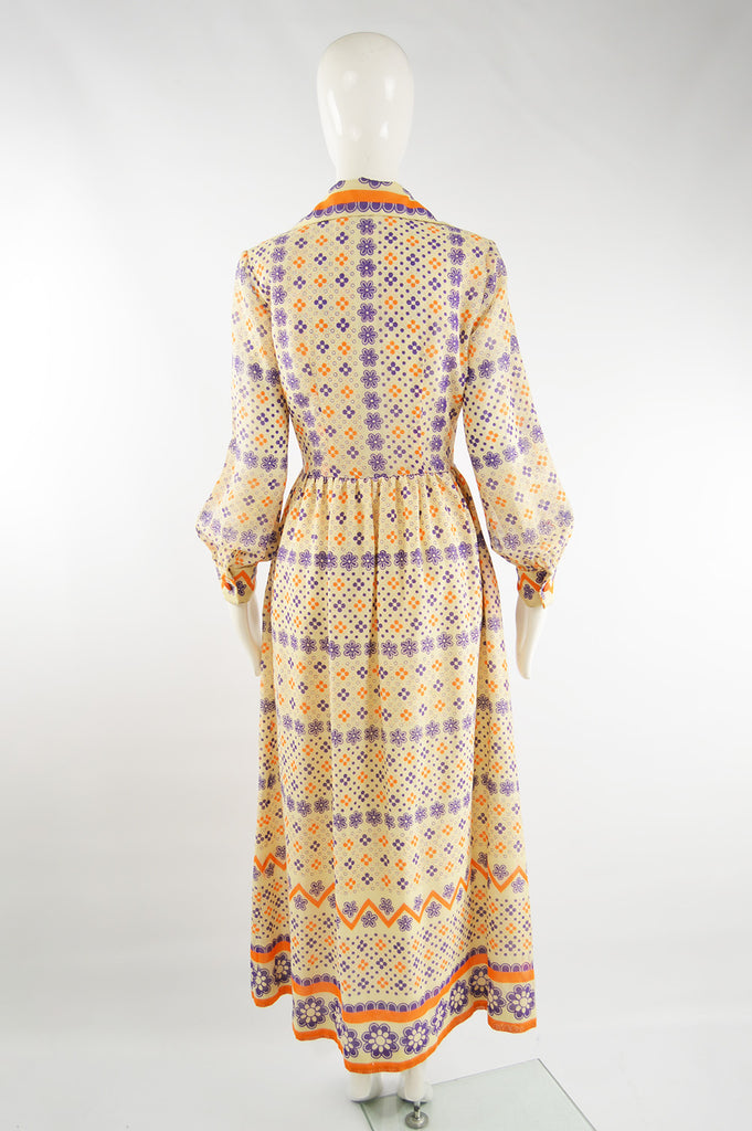 Vintage Cotton Voile Boho Maxi Dress, 1970s