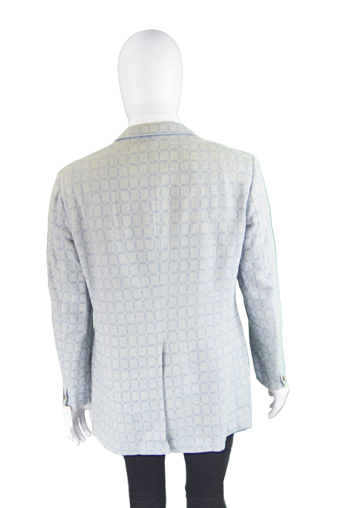 Men's Wool & Mohair Windowpane Check Blazer, 1960s