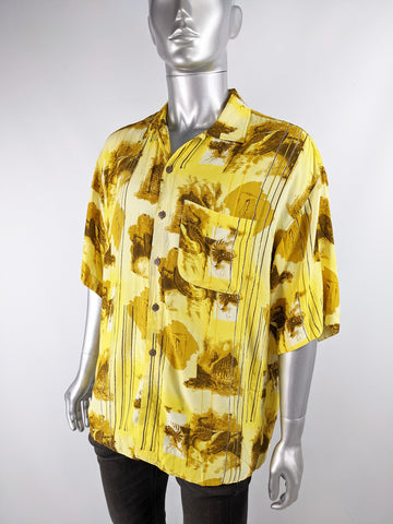 Mens Vintage Oversized Yellow Rayon Shirt, 1980s