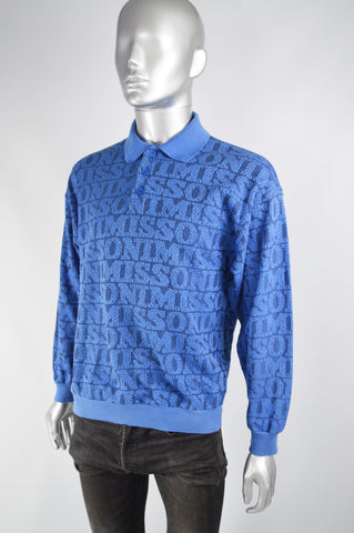 Mens Vintage Blue Spellout Knit Polo Shirt, 1980s