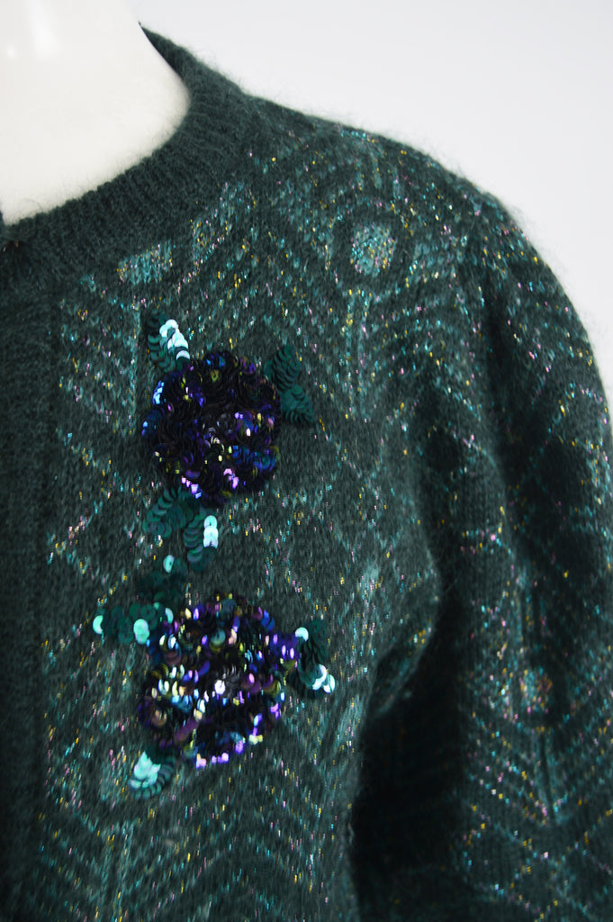 Vintage Balloon Sleeve Mohair Sequin Cardigan, 1980s