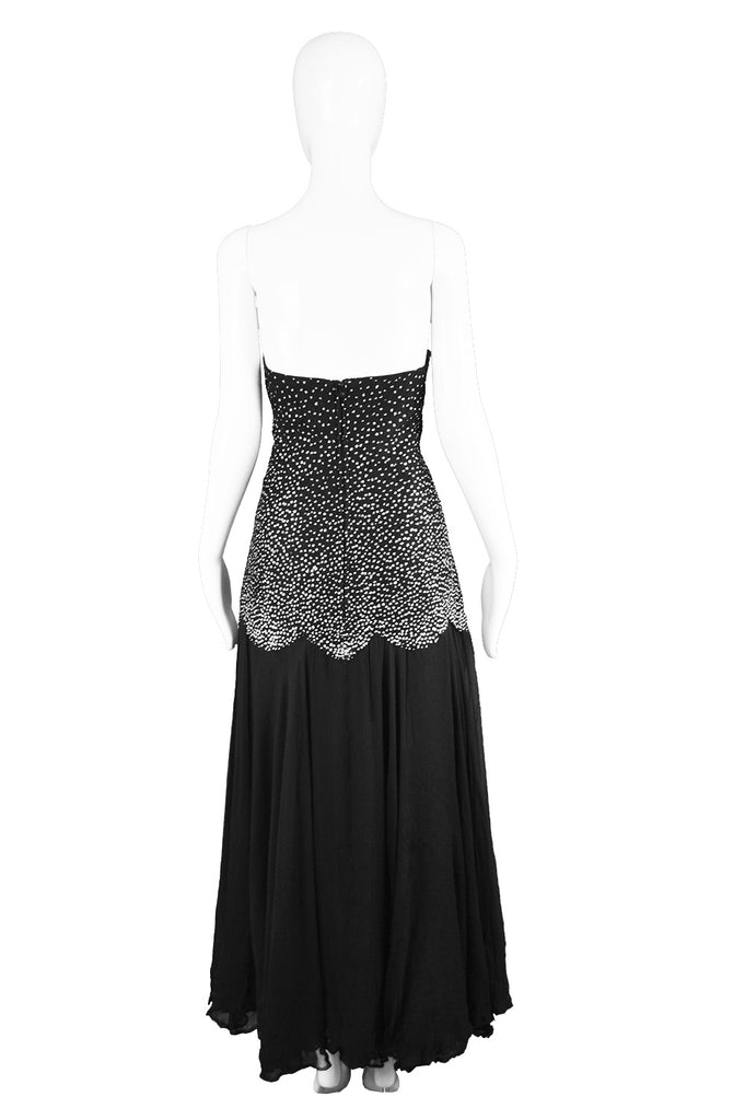 Vintage Sparkly Tulle & Ruched Silk Evening Dress, 1980s