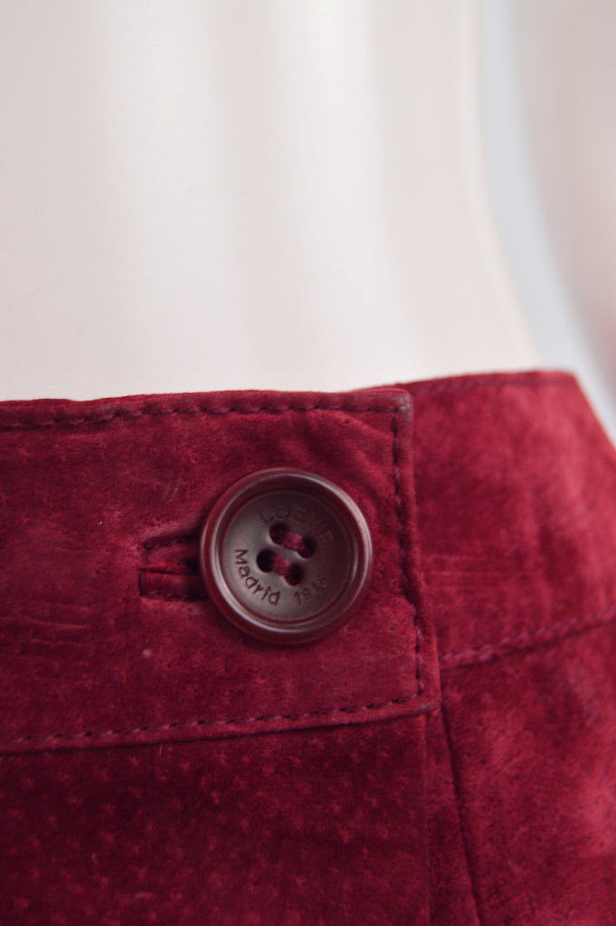 Vintage Cherry Red Suede Skirt, 1980s