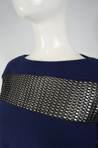 Womens Blue Wool & Silver Mesh Shirt, 2000s
