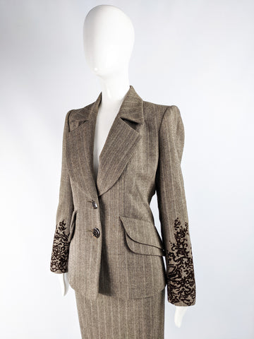 Vintage Womens Tweed & Flocked Velvet Skirt Suit, 1990s