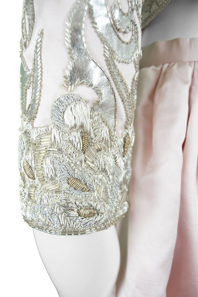 Embroidered Silk Satin Dress & Ball Skirt, 1980s